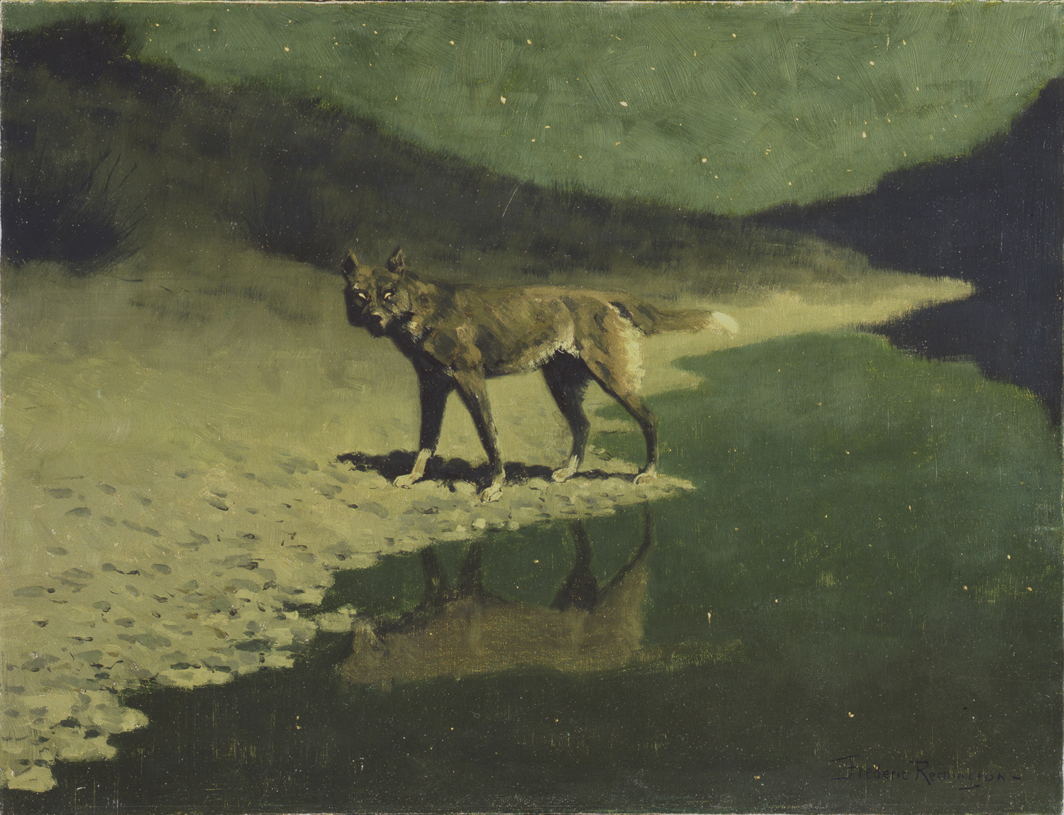 "Frederick Remington, ""Moonlight Wolf"", (ca. 1909), oil on canvas. Image courtesy Bowdoin College Museum of Art."