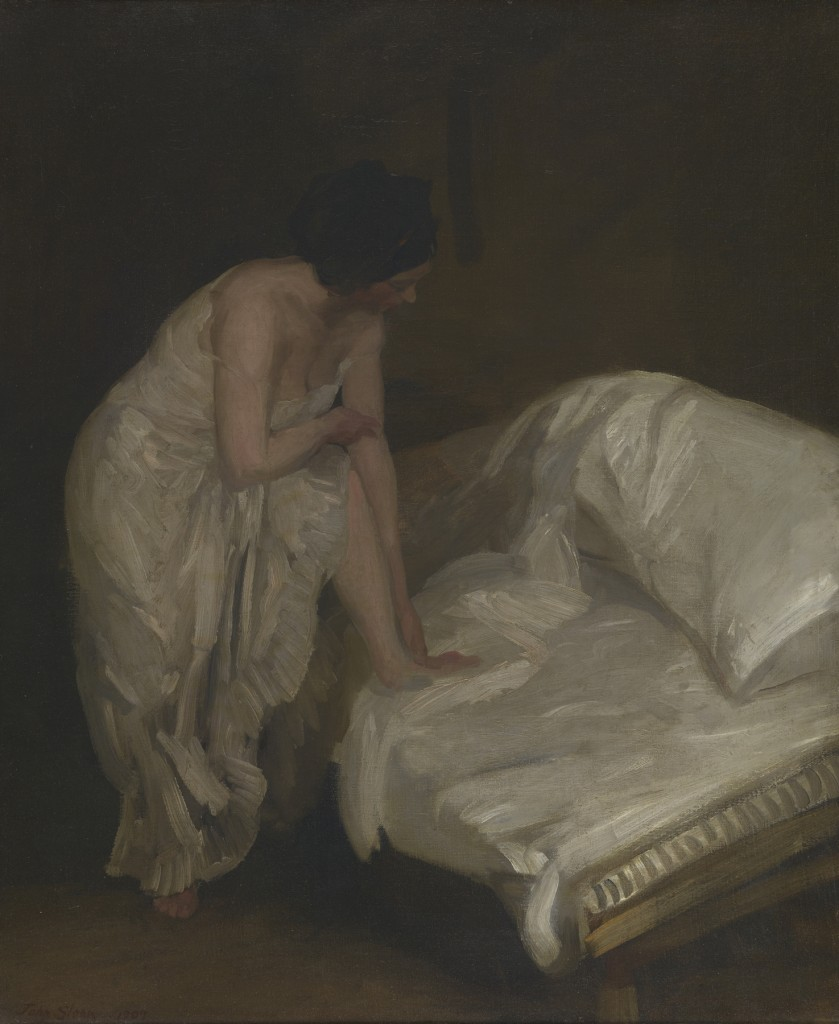 "John Sloan, ""The Cot"", (1907), oil on canvas. Image courtesy Bowdoin College Museum of Art."