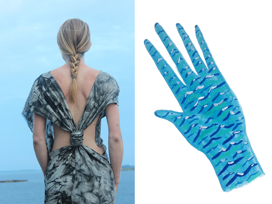 MYFAWNWY: (L) Salt Water Silk Jumpsuit and (R) Waving To You, from the Island & I collection, 2015.
