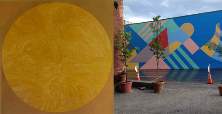 "Left: Richard Iammarino, Big Yellow, 50"" x 50"", 2015. Photo by Scott Sell. Right: Iammarino, Unterhalter, and Truhn, Oak Street Mural (detail)."