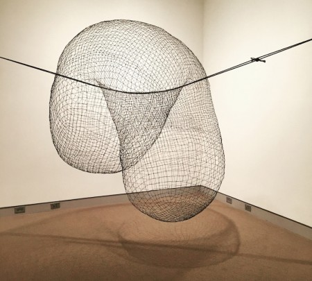 Anna Hepler, Double Hung (2013-2015), steel wire and rope, dimensions variable, as installed at University of Maine Museum of Art. Photo by the author.