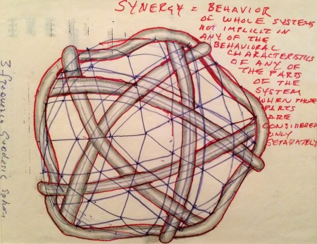 R. Buckminster Fuller, Three Frequency Geodesic Sphere, graphite and felt-tip pen on paper, n.d. Department of Special Collections, Stanford University Libraries.