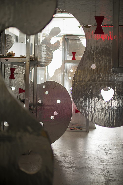 NSFW, mixed media, large room installation at SPACE Gallery, approximately 15 x 25 x 40 feet, 2013.