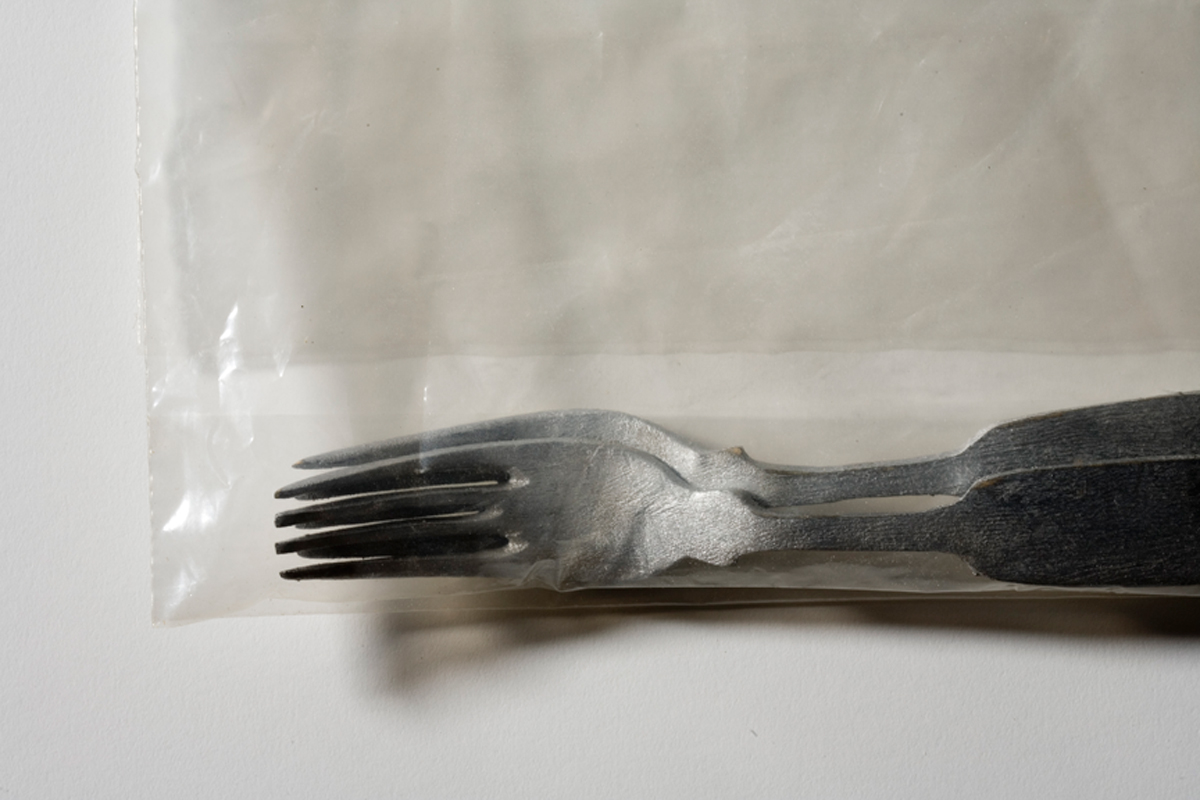 Duncan Hewitt, Forks (detail), carved and painted wood with plastic bag, 11 x 10 x 1 1/2 in, 2002.