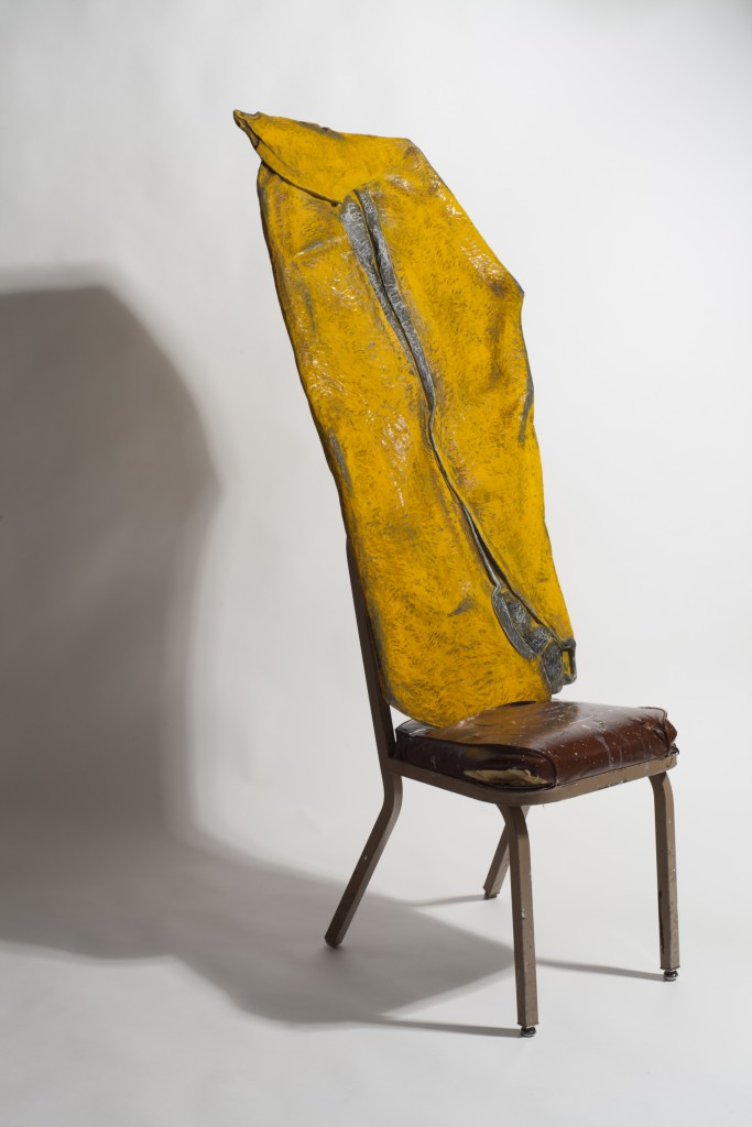 Duncan Hewitt, Yellow Smashup, carved and painted wood with chair, 47 x 24 x 2 in, 2013.