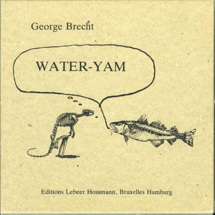 "George Brecht's Water Yam is another example of the beginnings of Mail Art and the New York Correspondence School. Water Yam began when Brecht mailed small cards to his artist colleagues with scores conducted on one side. His friends would create their own scores, thus building the beginnings of the Mail Art movement. Water Yam culminated with the Yam Festival in May 1963. George Maciunas, a contemporary of Brecht, designed and produced the collection of cards to create the work ""Water Yam"", seen above. Maciunas removed any signatures on the cards to create cohesion and one body of work. Similarly, by leaving work unsigned, Erased By Us mirrors this desire to maintain anonymity and the blending of ideas. <sup class='footnote' srcset="