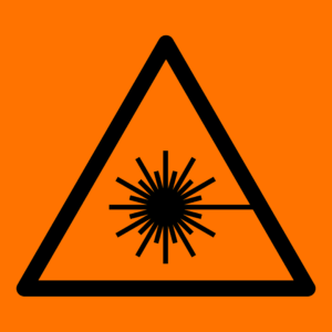 Laser icon on an orange field