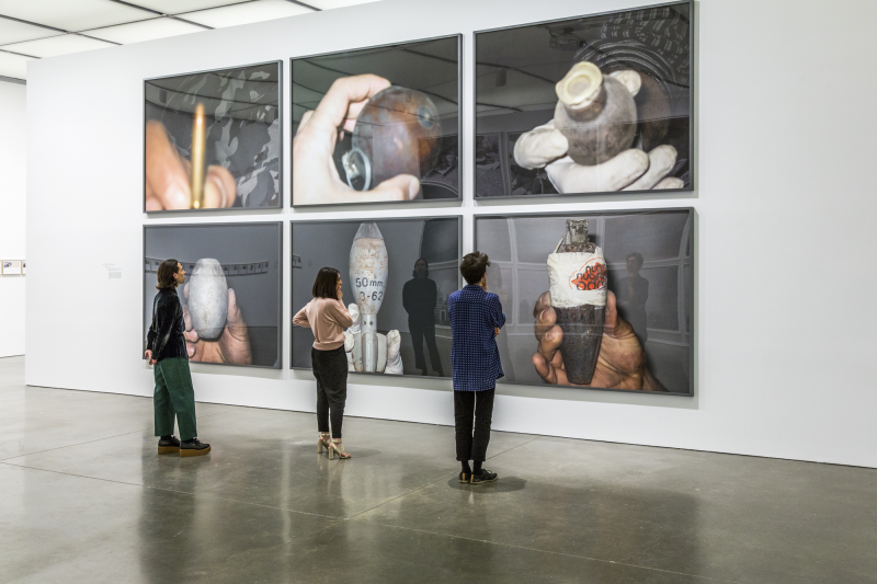 Installation view, Walid Raad, I might die before I get a rifle, Institute of Contemporary Art, Boston, 2016. Photo by John Kennard.