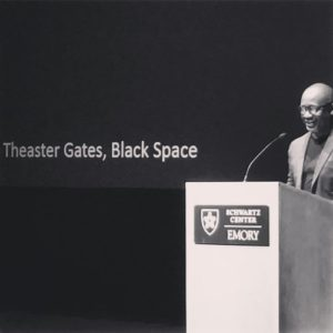"Theaster Gates delivering his talk ""Black Space"" on February 3 at Emory University. (Photo: Carl Rojas)"