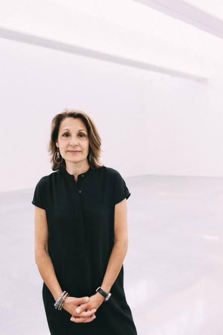 Suzette McAvoy in the Center for Maine Contemporary Art's new space in downtown Rockland. Photo: Jonathan Laurence.