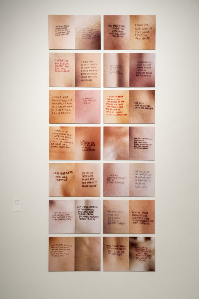 Jenny Holzer Lustmord, ink on skin, Cibachrome Print 13 x 20 in., 1993. Photo by Kyle Dubay.