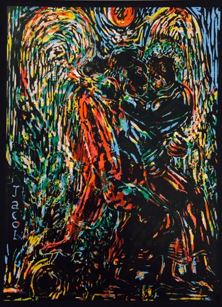 "David Driskell, Jacob Wrestling with the Angel, color woodcut/serigraph, 14 x 10"", 2015."