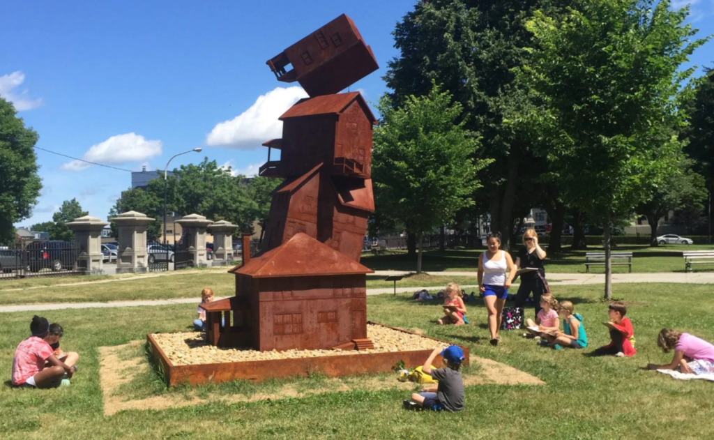 "Judith Hoffman's ""The American Dream"", installed in Lincoln Park, Portland, ME. TEMPOart is asking three artists to reinterpret the concept of the American dream and its relevance through three temporary public art projects this summer."