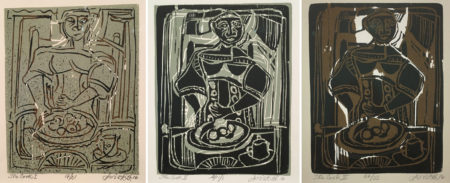 "David Driskell, from left to right: The Cook I, AP 17/21, linocut/serigraph, 7.25 x 6"", 2016. The Cook II, AP 1/1, woodcut/serigraph, 7.25 x 6"", 2016. The Cook III, AP 24/33, woodcut/serigraph, 7.25 x 6"", 2016. Photos courtesy of CMCA."