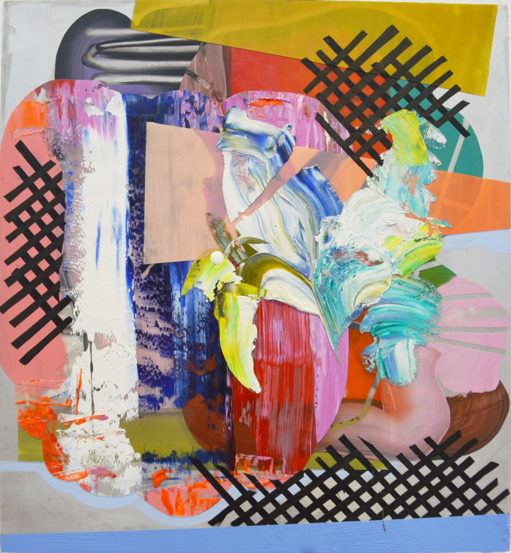 "Elizabeth Kleene, ""LAYER BOSS"", acrylic, oil, and duralar on aluminum mounted on panel, 13x12"", 2013. Image courtesy of Gallery 49."