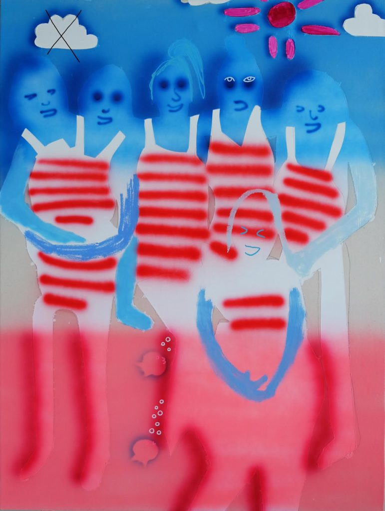 "Emilie Stark-Menneg, American Popsicle, 2017, 48"" x 36"", acrylic and oil on canvas. Image courtesy Elizabeth Moss Galleries."