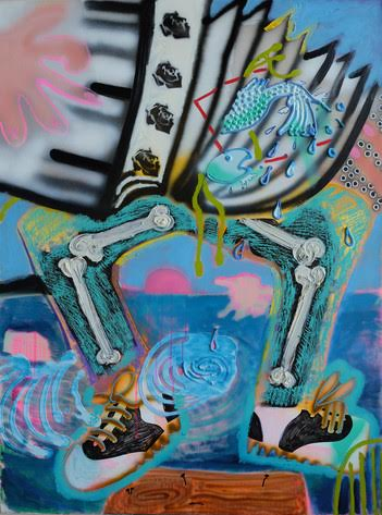 "Emilie Stark-Menneg, Jangle Bones, 2017, 48"" x 36"", acrylic and oil on canvas. Image courtesy Elizabeth Moss Galleries."