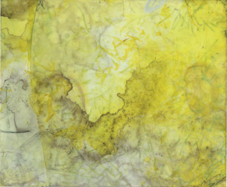 "Sarah Baldwin, territory*decay : yellow E/320Hz, ink on vellum, 4 x 6"", 201."