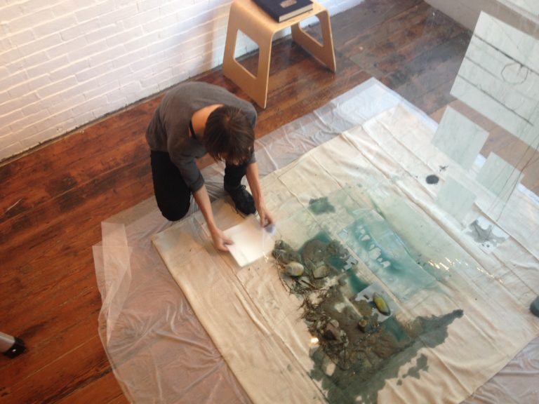 Sarah Baldwin working at Engine in ink, mylar, beach detritus, vellum, 2014.